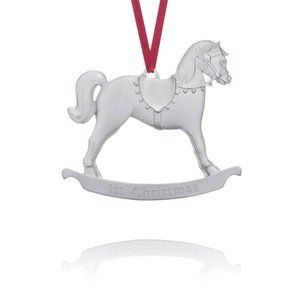 """Pewter """"First Christmas"""" Ornament - Rocking Horse"""